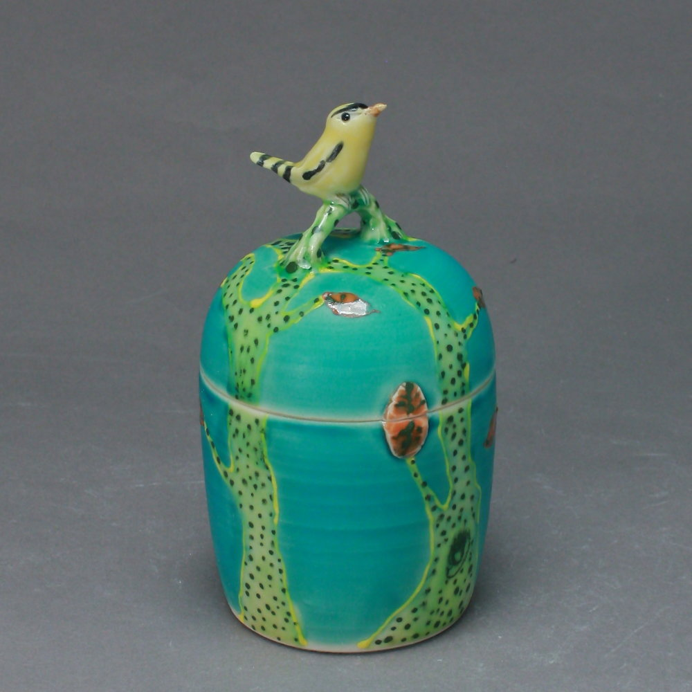 B-27 | Turquoise Box with Yellow Warbler ($175)