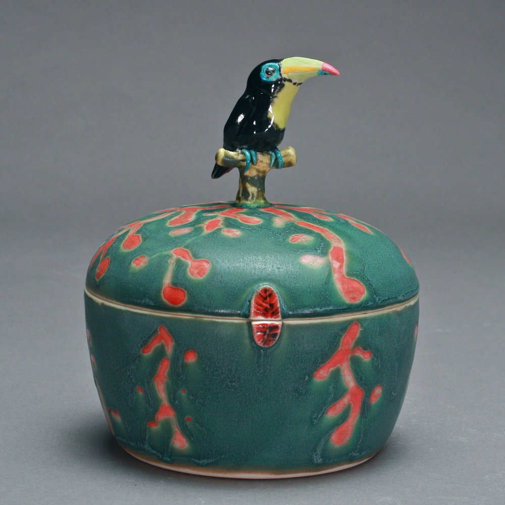 B 28- | Green Flowered Box with Toucan ($175)