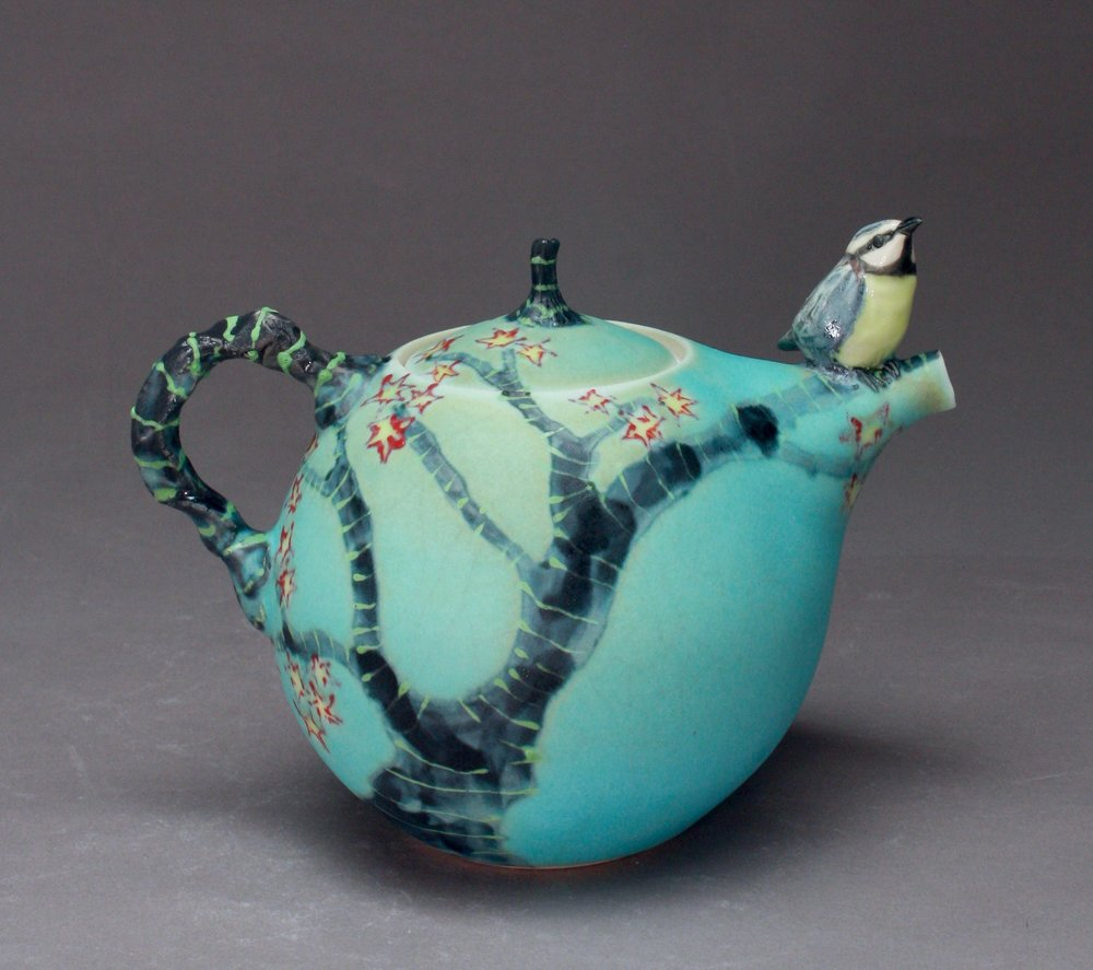 T-33 | Blue Teapot with Bee Eater ($295)