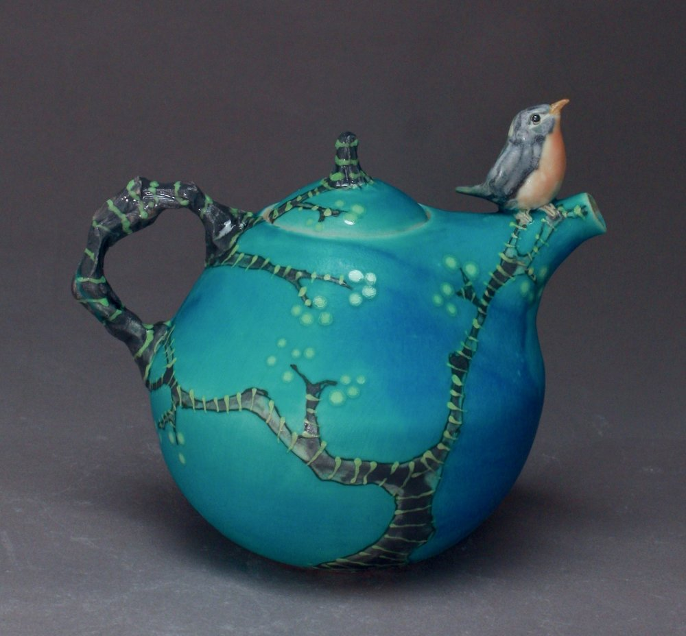 T-35 | Spring Branches Teapot with Bluebird ($295)