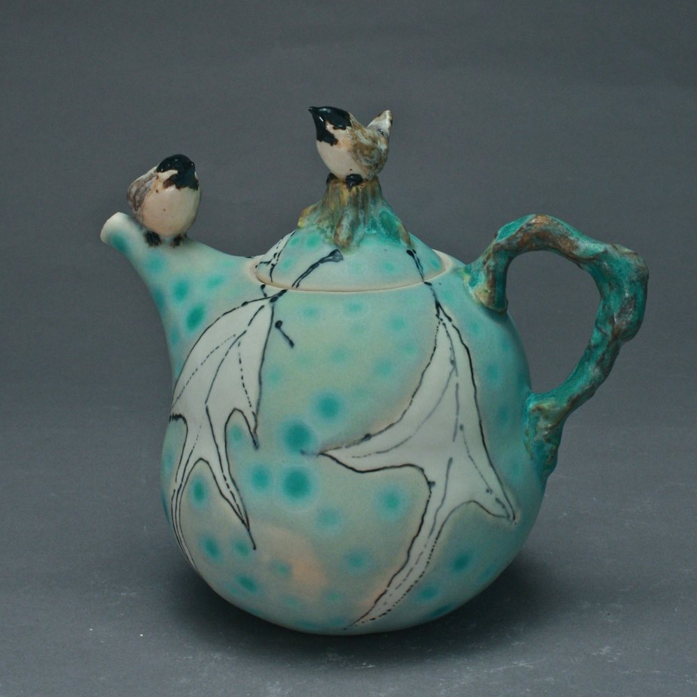 2BT-07 |  Ghost Leaves Celadon Teapot with Chickadees ($325)