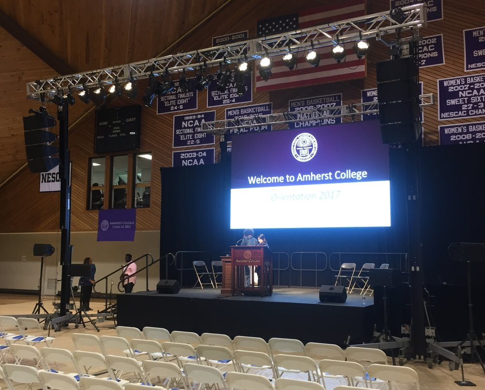 Audio, lighting, Truss, stage and video for the new student orientation at Amherst College.