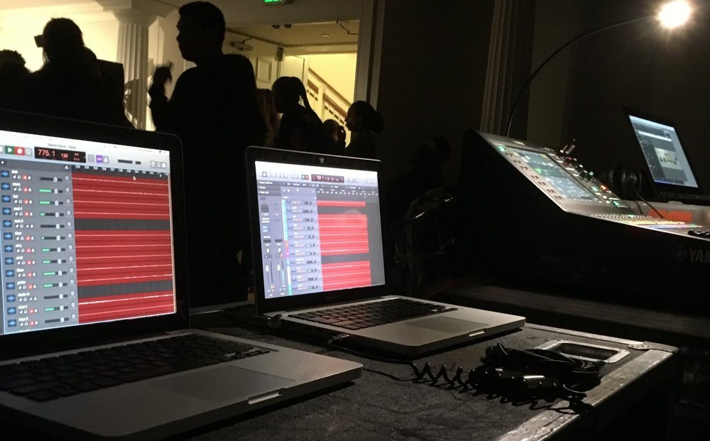 Live, redundant, multi-tracking for Salmon Shorts at Amherst College using Audinate's Dante infrastructure and Dante Virtual Soundcard.