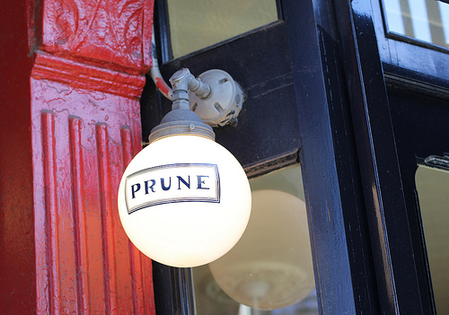 Prune  Located in the East Village, this is another brunch place of dreams.  Prune is another wonderful place for Bloody Mary's, they even have their own special menu for them.  The queue is quite long but I assure you it is worth the wait.  I had some amazing eggs, smoked salmon and my friend Casty had some corn fritters.  Brilliant, I tell ya!  The lady behind it all even has a cookbook.  54 E 1st St, New York, NY 10003, United States +1 212-677-6221   http://prunerestaurant.com