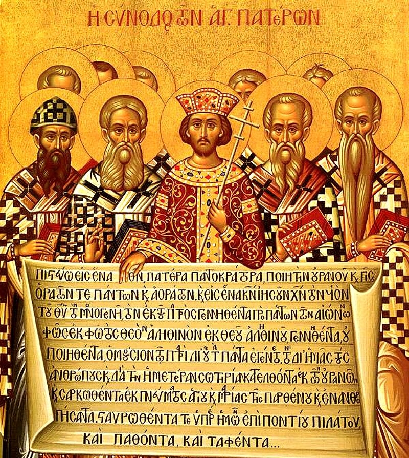 The Fathers of the First Ecumenical Council in Nicene holding the Nicene Creed which was composed and agreed upon during the Council in 381.