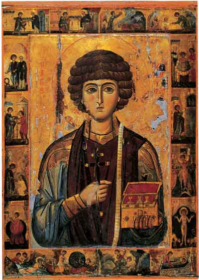 St. Panteleimon with depictions of events from his life. Notice that he is holding a box containing medicine. In his ministry, St. Panteleimon was an unmercenary, meaning that he offered healing without taking payment. He also depicted holding a cross as a sign of his martyrdom.  May St. Panteleimon intercede for us!