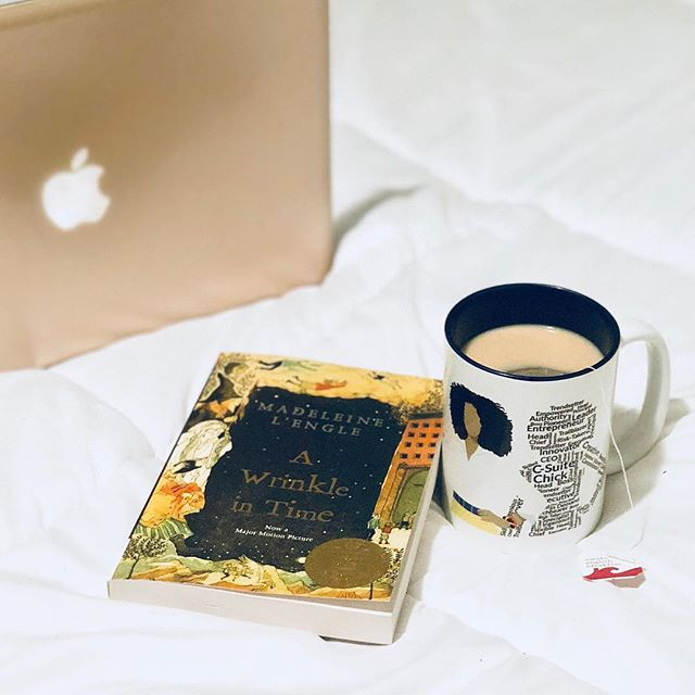 I am embracing the Danish concept of #hygge this cozy Saturday morning with a warm cup of tea and A Wrinkle in Time. I'm looking forward to seeing the movie later today! . What is hygge? Check out my latest blog post (link in bio) to learn more and read my review of The Little Book of Hygge  #littlebookofhygge #selfcaresaturday