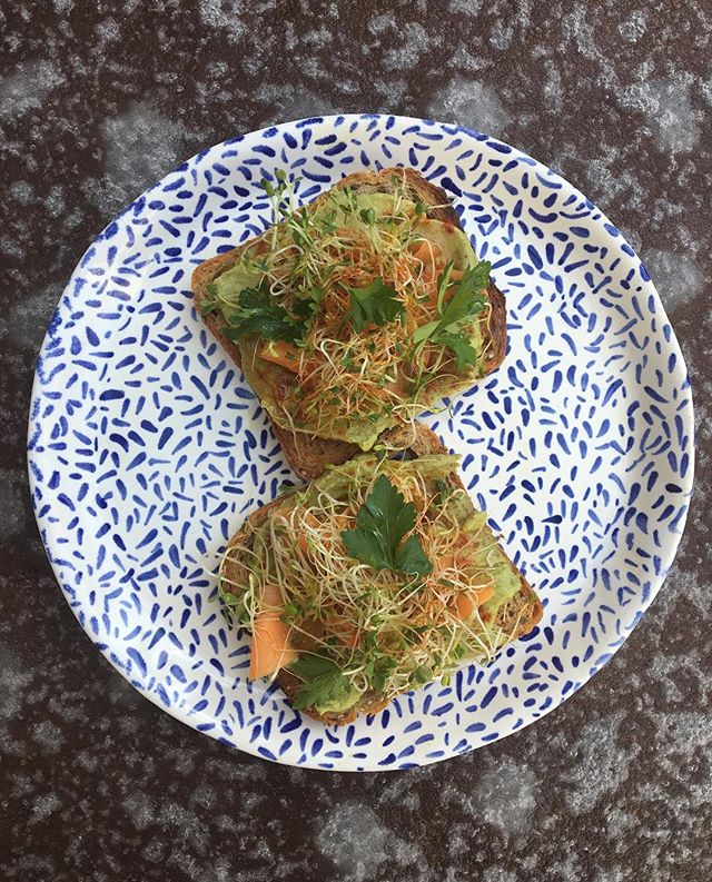 Hey guys we are into #trends so here's that avocado toast* you've been asking for: avocado-tahini mash, pickled carrots, smoky paprika, sprouts, miso vinaigrette & herbs. *If you don't add an egg, did it ever really happen??