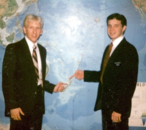 Elder Lynn Parsons and myself in front of the world map at the MTC.