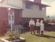Fall 1969 - Walter, Barton, Amy in front of South Jordan house - Smaller.jpg