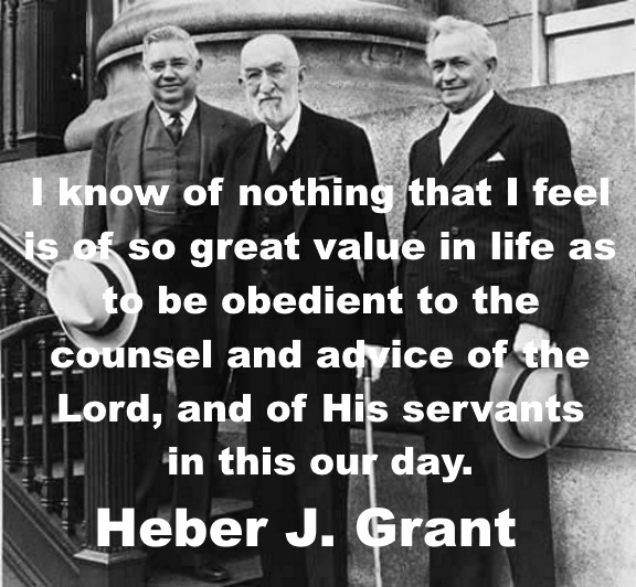 L to R: First Presidency 1936 - J. Reuben Clark, Jr., First Counselor, President Heber J. Grant, David O. McKay, Second Counselor