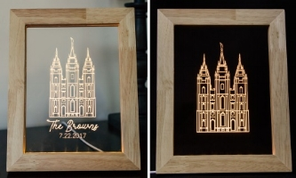 Salt Lake City Temple Illuminated Picture Frame - Regular and Personalized
