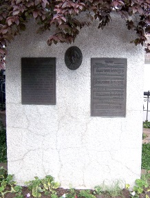 "Monument with bronze image of Eliza and ""O My Father"" lyrics, Pioneer Memorial Monument Park, Salt Lake City, Utah"