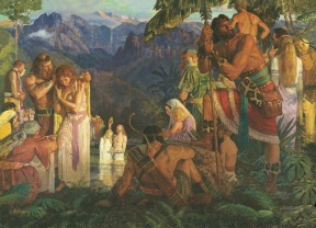 Alma baptizing at the Water's of Mormon by Arnold Friberg