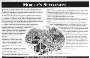 Sign at Yelrome or Morley;s Settlement in Southern Hancock County, Illinois.