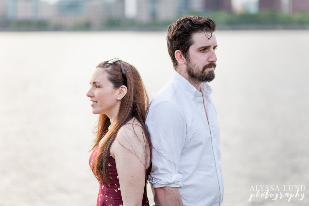 Artsy engagement portrait by the water