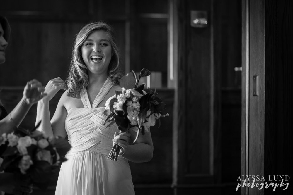 Wayzata country club wedding bridesmaid moment