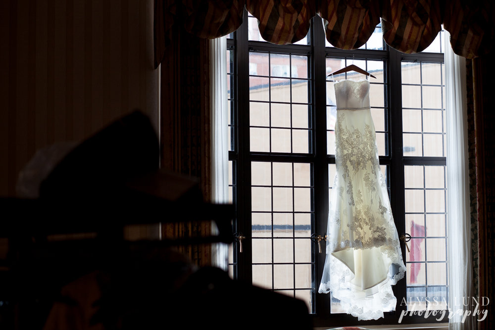 Wedding dress in a window at the Minneapolis Club
