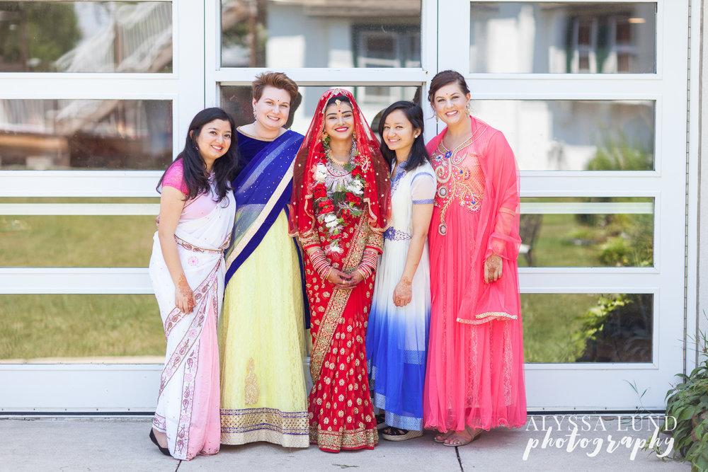 Bride and bridesmaids at Minneapolis Hindu Wedding