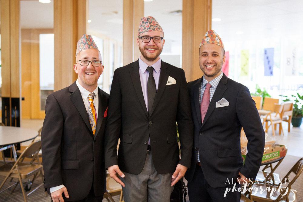 Minneapolis Hindu Wedding groomsmen with Nepali hats