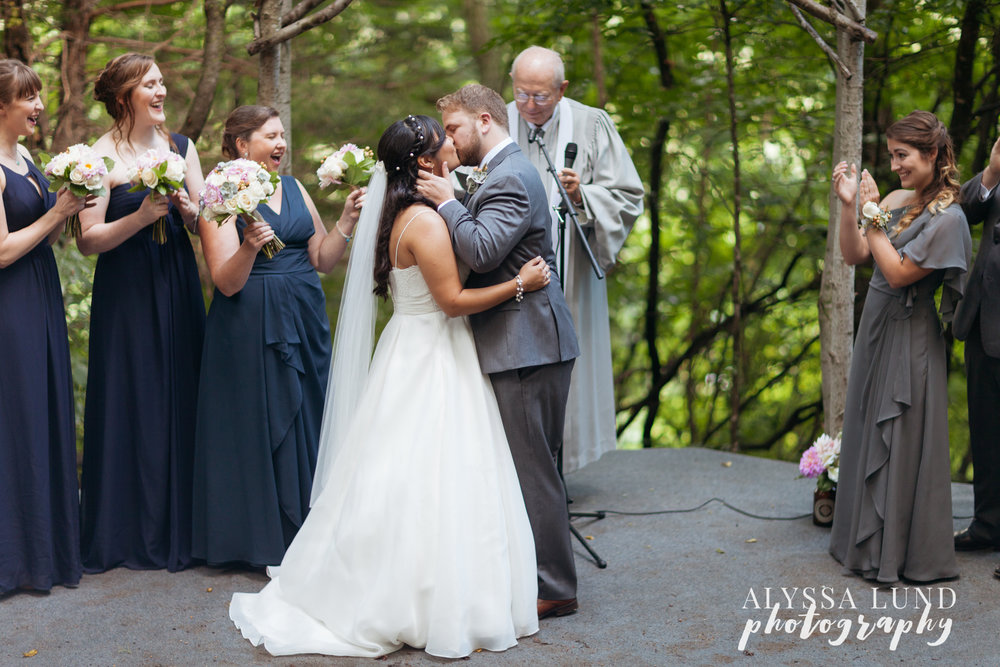 Wedding Ceremony Kiss at Edgewood Farm