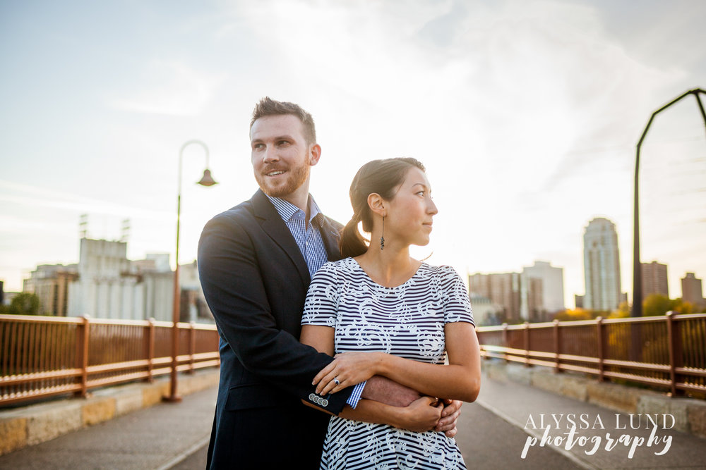 Minneapolis engagement session at the stone arch bridge