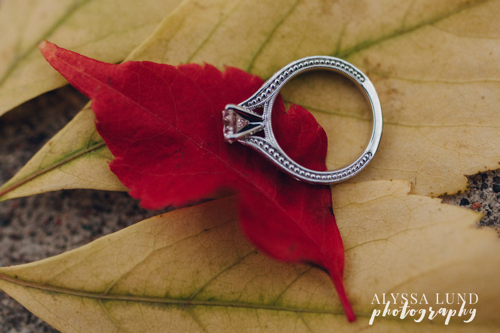 St. Paul Fall Engagement session ring detail on leaves