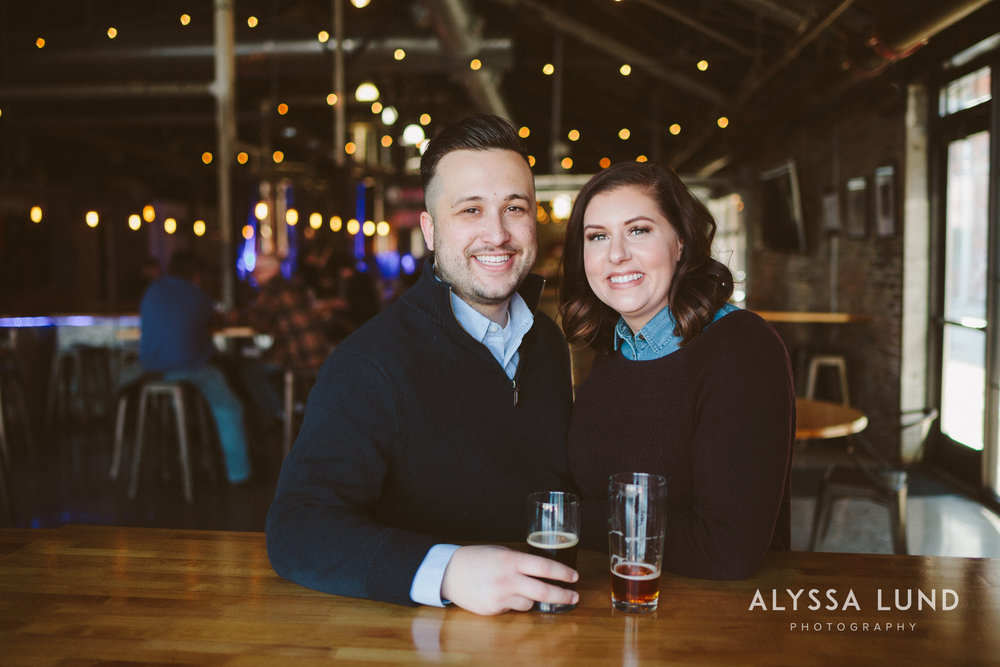 Brewery Engagement Portraits in St. Paul