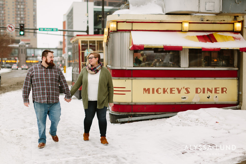 St. Paul Engagement Session at Mickey's Diner.jpg