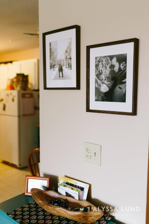 Dark wood frames for engagement portraits