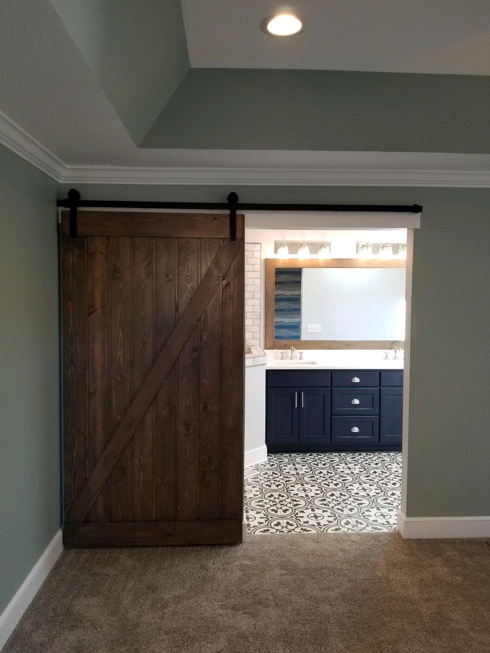 Barn door into Master Bathroom