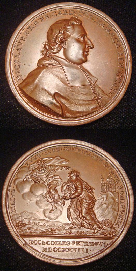 Ottone Hamerani. Cardinal Nicolò Coscia. 1728. Bronze. 45mm.