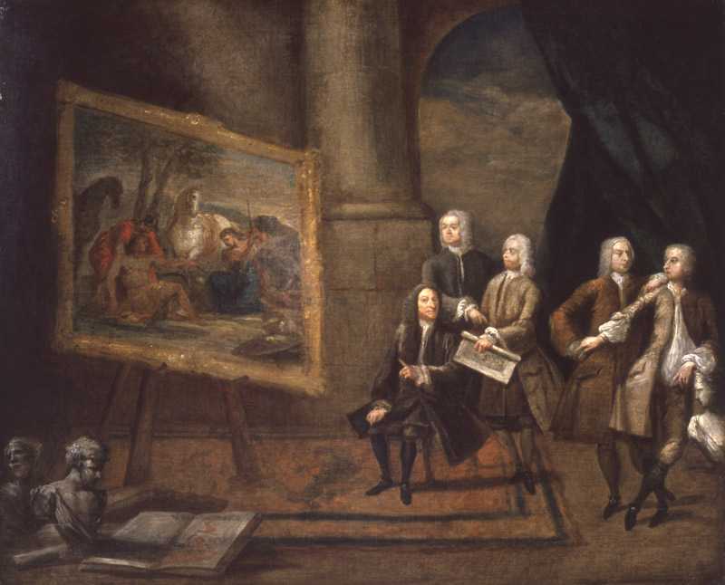 Gawen Hamilton depicts Sir James Thornhill Showing his Poussin to his Friends. oil on canvas. 62.9 x 75.6 cm. Beaverbrook Art Gallery, Fredericton, New Brunswick. Gift of Sir Alec Martin
