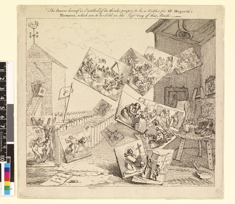 William Hogarth. Battle of the Pictures. Bidder's ticket for an auction of paintings by Hogarth. 1745 Etching.  British Museum Department of Prints and Drawings. Cc,1.137