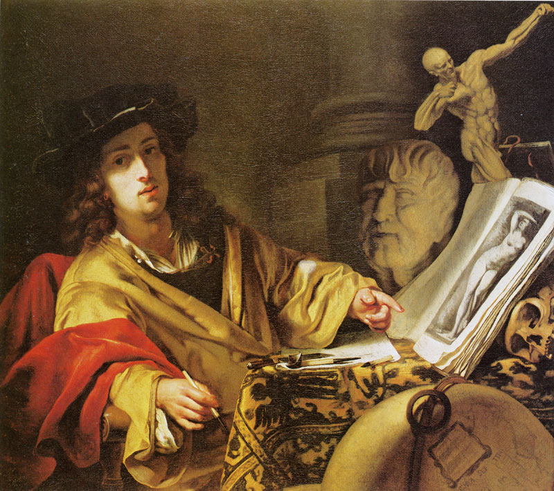 Godfrey Kneller. Vanitas Self portrait. 107 x 114 cm. Oil on canvas. Photo by Ronald Cook, Bedford. From Werner Sumowski, Gemälde der Rembrandt-Schüler III, Landau/Pfalz, 1986, nr. 975