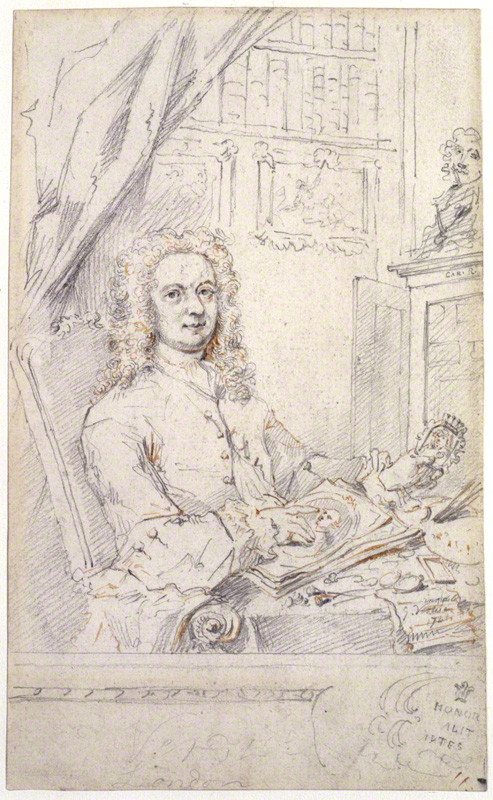 George Vertue. Self portrait. 1741. pencil and red chalk. 235 mm x 140 mm. National Portrait Gallery. 4876