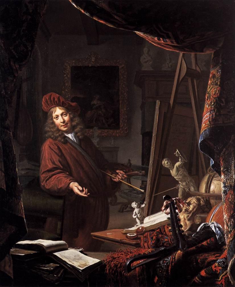 Michiel van Musscher. The Painter's Studio. 1679. Oil on panel. 57 x 47 cm.Historisch Museum Het Schielandhuis, Rotterdam