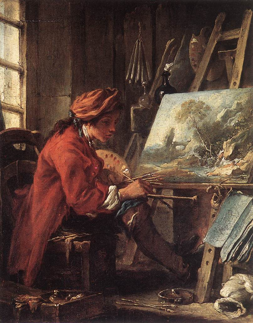 Francois Boucher. Painter in His Studio. 1730-35. oil on canvas. 22 x 27 cm. Musée du Louvre, Paris, France