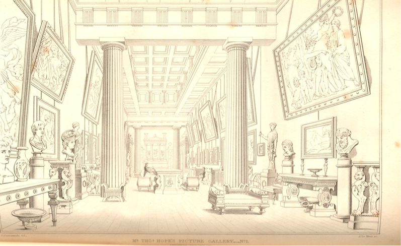 J. Le Kenx after G. Cuttermole. Mr. Hope's Picture Gallery, Duchess St. 1824 in Charles Molloy Westmacott, British Galleries of Painting and Sculpture (London, 1824)