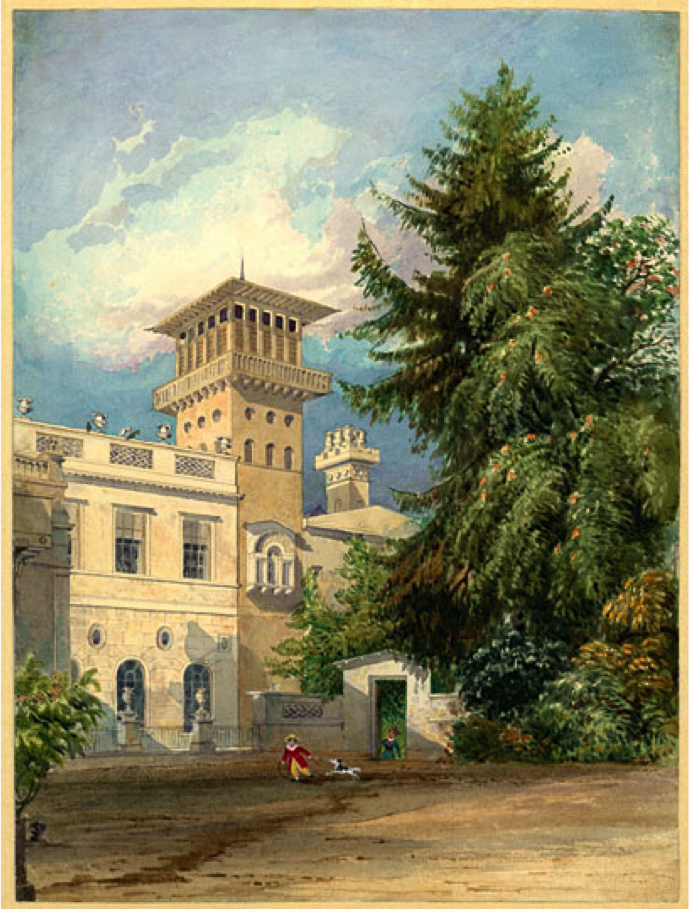 William Henry Bartlett (1809–54). The Deepdene, Entrance Court, Looking Towards the Tower. 1825-6. Watercolour and pen and wash on paper.  For John Britton, Illustrations of the Deepdene Seat of T. Hope Esqre.  Lambeth Archives Department