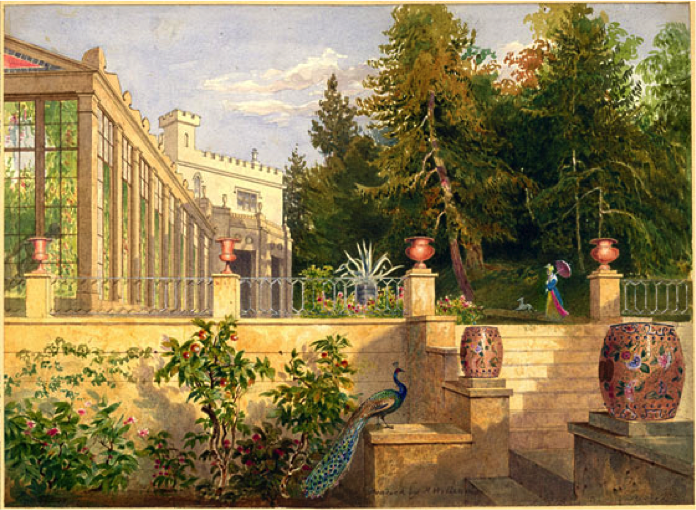 William Henry Bartlett (1809–54). The Deepdene, Steps to the Conservatory. 1825-6. Watercolour and pen and wash on paper.  For John Britton, Illustrations of the Deepdene Seat of T. Hope Esqre.  Lambeth Archives Department.