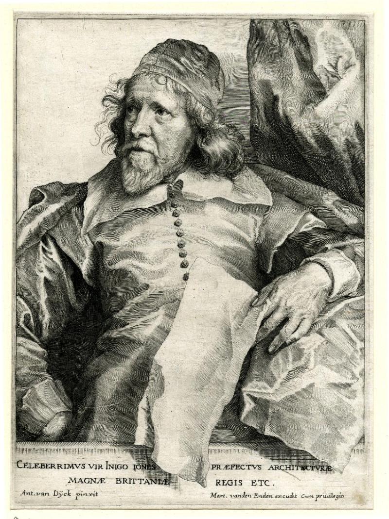 "Robert van Voerst after Anthony Van Dyck. Inigo Jones. before 1641. From Icones Principum Virorum. British Museum P&D R,1a.146. Inscription: ""CELEBERRIMUS UIR INIGO IONES PRÆFECTUS ARCHITECTURÆ / MAGNÆ BRITTANIÆ REGIS ETC. / Ant.van Dÿck pinxit / Mart. vanden Enden excudit Cum priuilegio."""