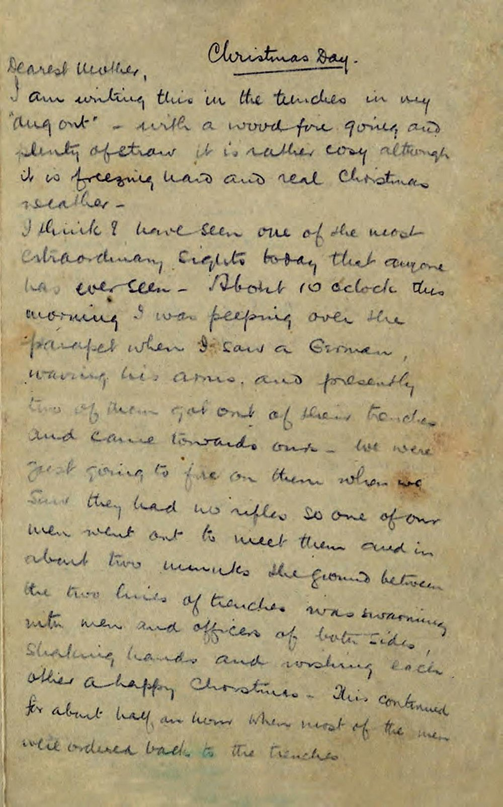 Christmas Truce Letter page 1