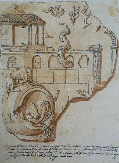 Pier Leone Ghezzi. Drawing of Diogenes Bas Relief. 1726. Codex Ottobonianus Latinus 3109. Vatican Library
