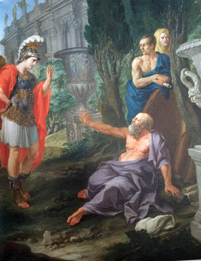 Pier Leone Ghezzi. Diogenes and Alexander. 1726-28. Private collection