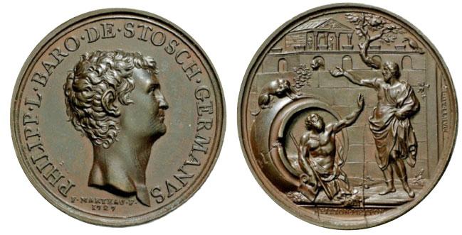 François Marteau. Baron Philip con Stosch. 1727. bronze. 40 mm.