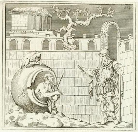 Alexander Conversing with Diogenes. Engraved by Giovanni Battista Casanova for Johann Joachim Winckelmann. Monumenti antichi inediti, vol. 1 (Rome, 1767), pl. 174