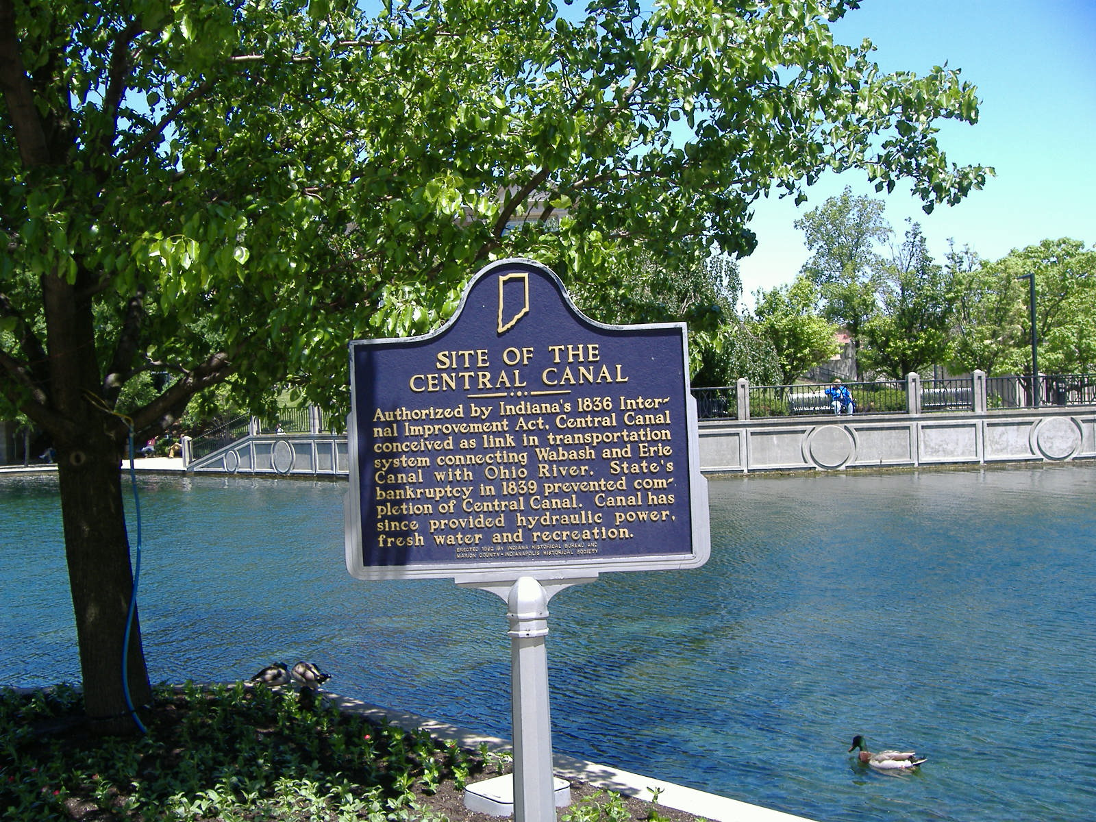Historical Marker for the Central Canal, Indianapolis, IN