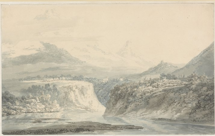 J.M.W.Turner after John Robert Cozens. Mont Blanc from the banks of the Arve, near Sallenches in Savoy. c.1792-3. watercolour, over graphite. 231 x 376 mm. British Museum. 1958,0712.387.