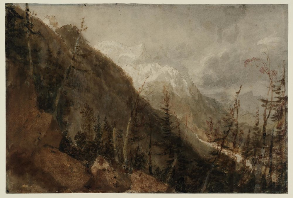 J.M.W. Turner 1775–1851. Chamonix: Mont Blanc and the Arve Valley from the Path to the Montenvers. 1803. graphite, watercolour and gouache on paper. Support: 318 x 472 mm. Tate. St Gothard and Mont Blanc Sketchbook. D04610. Turner Bequest LXXV 18. Image released under Creative Commons CC-BY-NC-ND (3.0 Unported).